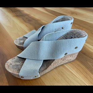 Lucky brand cork and elastic wedges. Size 6.5